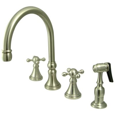 Deck Mount Double Handle Widespread Kitchen Faucet with Knight Cross Handle Finish: Satin Nickel