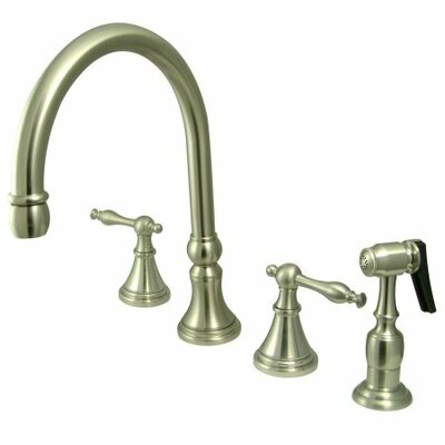 12 Deck Mount Double Handle Widespread Kitchen Faucet with Metal Lever Handle Finish: Satin Nickel