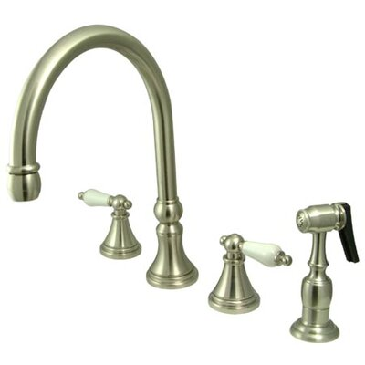 Deck Mount Double Handle Widespread Kitchen Faucet with Porcelain Lever Handle Finish: Satin Nickel