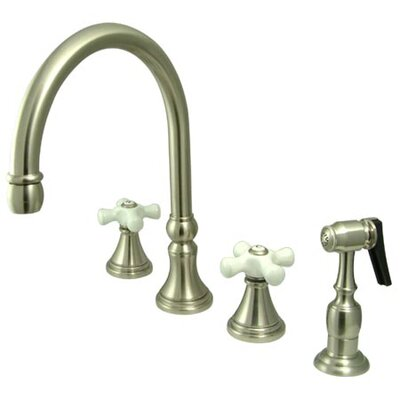 Deck Mount Double Handle Widespread Kitchen Faucet with Porcelain Cross Handle Finish: Satin Nickel