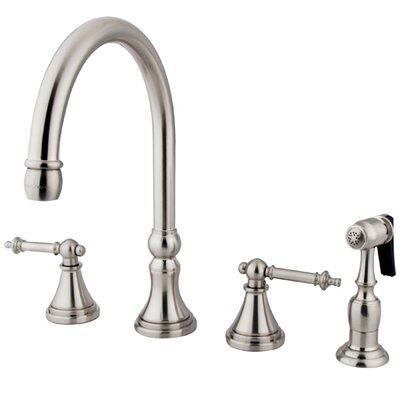 Deck Mount Double Handle Widespread Kitchen Faucet with Metal Lever Handle and Brass Sprayer Finish: Satin Nickel