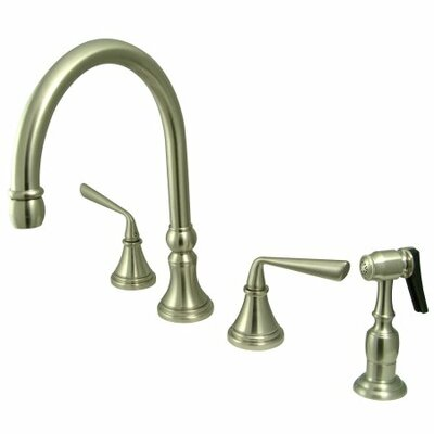 Copenhagen Double Handle Widespread Kitchen Faucet with Brass Sprayer Finish: Satin Nickel