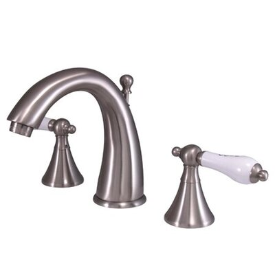 Widespread Bathroom Faucet with Double Porcelain Lever Handles Finish: Satin Nickel