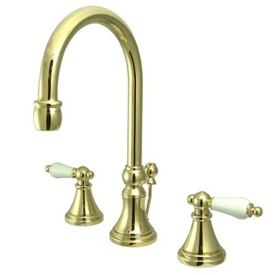 Madison Widespread Bathroom Faucet with Double Porcelain Lever Handles Finish: Polished Brass