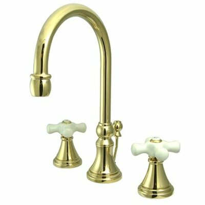 Madison Widespread Bathroom Faucet with Double Porcelain Cross Handles Finish: Polished Brass