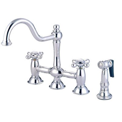 Double Handle Widespread Bridge Faucet with American Cross Handle Finish: Chrome