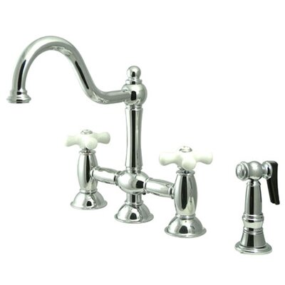 Double Handle Widespread Bridge Faucet with Porcelain Cross Handles Finish: Chrome