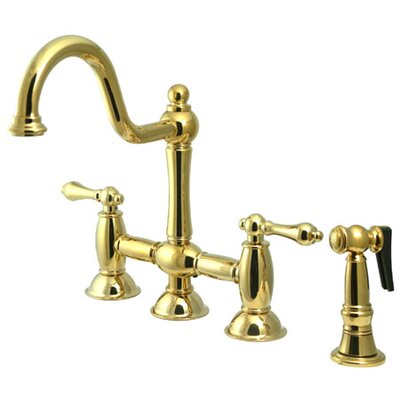 Double Handle Widespread Bridge Faucet with American Lever Handle Finish: Polished Brass