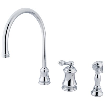 Single Handle Widespread Kitchen Faucet with Metal Lever Handle Finish: Polished Chrome