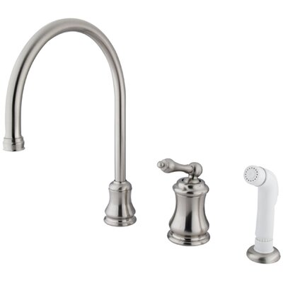 Restoration Widespread Kitchen Faucet with Metal Lever Handle and Plastic Side Spray Finish: Satin Nickel