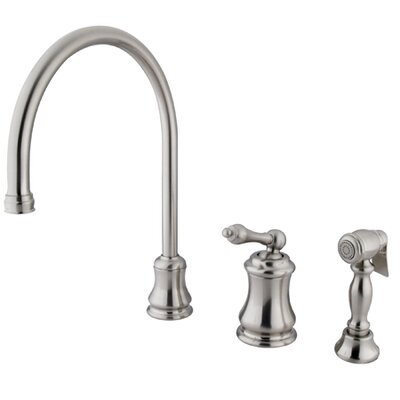 Single Handle Widespread Kitchen Faucet with Metal Lever Handle Finish: Satin Nickel