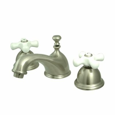 Widespread Bathroom Faucet with Double Porcelain Cross Handles Finish: Satin Nickel