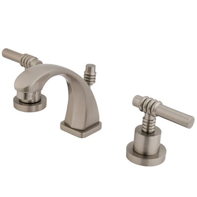 Milano Mini-Widespread Double Handle Bathroom Faucet with Drain Assembly Finish: Satin Nickel