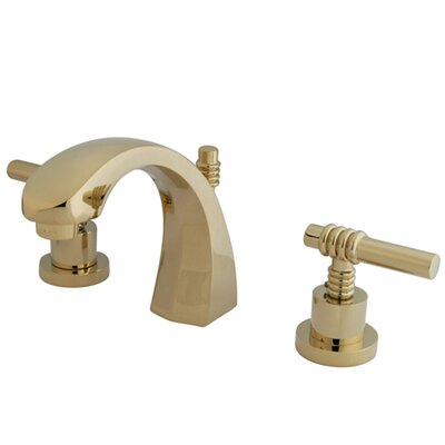 Milano Widespread Double Handle Bathroom Faucet with Drain Assembly Finish: Polished Brass