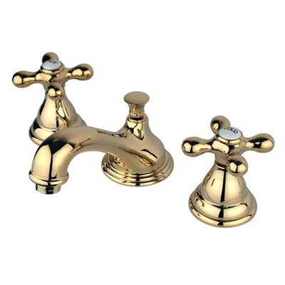 Widespread Bathroom Faucet with Double Metal Cross Handles Finish: Polished Brass