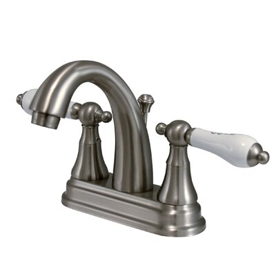 Elizabeth Centerset Bathroom Faucet with Double Porcelain Lever Handles Finish: Satin Nickel