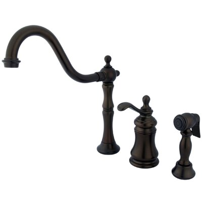 Widespread Kitchen Faucet with Templeton Lever Handle and Brass Side Spray Finish: Oil Rubbed Bronze