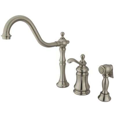 Widespread Kitchen Faucet with Templeton Lever Handle and Brass Side Spray Finish: Satin Nickel