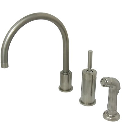 Concord Widespread Single Handle Kitchen Faucet with Side Spray Finish: Satin Nickel