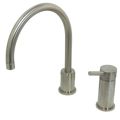 Single Handle Widespread Kitchen Faucet with Metal Lever Handles Finish: Satin Nickel