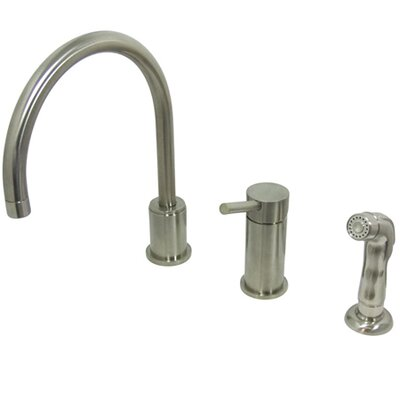 Widespread Kitchen Faucet with Metal Handle Finish: Satin Nickel