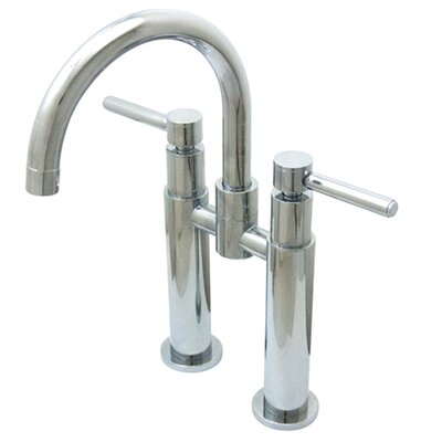 Widespread Vessel Sink Faucet with Double Metal Cross Handles Finish: Satin Nickel