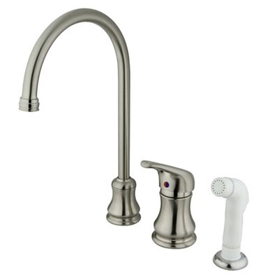 Single Handle Daytona Widespread Kitchen Faucet with Loop Handle and Side Spray Finish: Satin Nickel