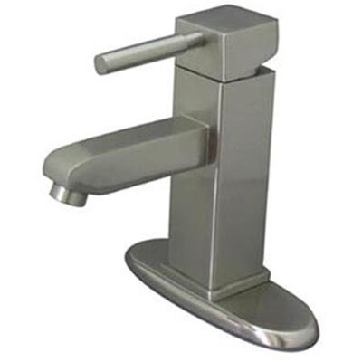 South Beach Single Handle Mono Block Bathroom Faucet with Pop-Up Drain and Plate Finish: Satin Nickel