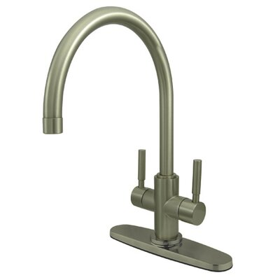 South Beach Double Handle Kitchen Faucet with Plate Finish: Satin Nickel
