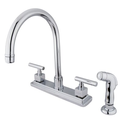 Rio Double Handle Kitchen Faucet with Matching Finish Plastic Sprayer Finish: Polished Chrome