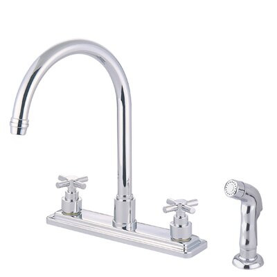 Tampa Two Handle Centerset Kitchen Faucet with Elinvar Cross Handles Finish: Polished Chrome