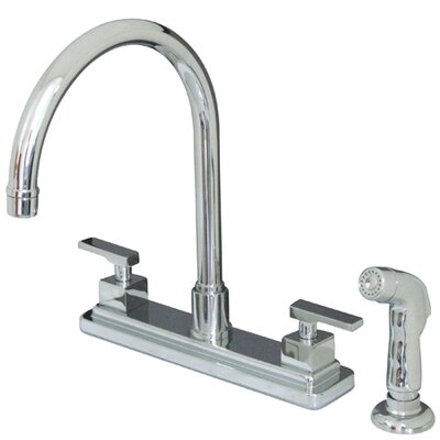 Tampa Double Handle Centerset Kitchen Faucet with Metal Lever Handles and Side Spray Finish: Satin Nickel
