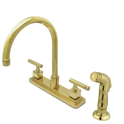 Rio Double Handle Kitchen Faucet with Matching Finish Plastic Sprayer Finish: Polished Brass