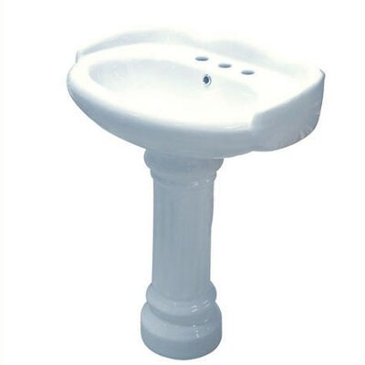 Ceramic 22 Pedestal Bathroom Sink with Overflow Faucet Mount: 8 Centers