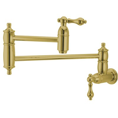 Decorative Double Handle Wall Mount Pot Filler Faucet Finish: Polished Brass
