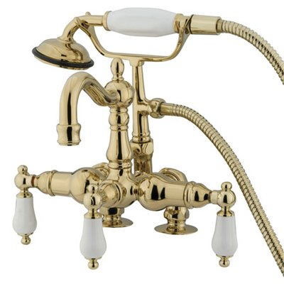 elements of design hot springs deck mount clawfoot tub faucet with handshower finish polished