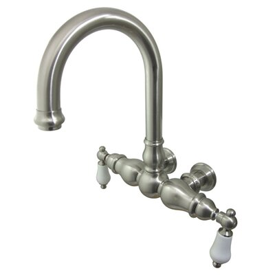 Elements of Design Hot Springs Double Handle Wall Mount Clawfoot Tub Faucet - Finish: Satin Nickel