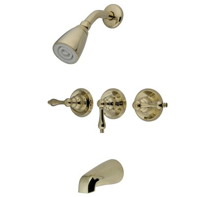 Volume Control Tub and Shower Faucet with Metal Lever Handles Finish: Polished Brass
