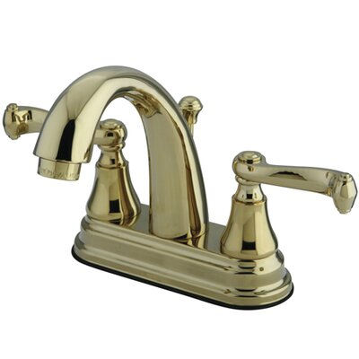 Elizabeth Centerset Double Handle Bathroom Faucet with Drain Assembly Finish: Polished Brass