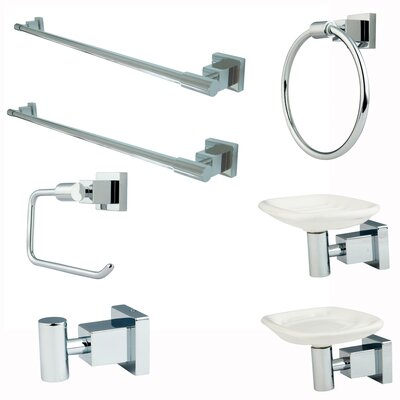 Claremont 7 Piece Bathroom Accessory Set Finish: Polished Chrome