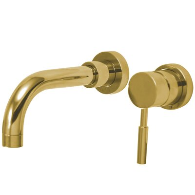 Concord Double Handle Wall Mount Sink Faucet without Pop-Up Finish: Polished Brass