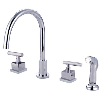Claremont Double Handle Widespread Kitchen Faucet with Plastic Sprayer Finish: Polished Chrome