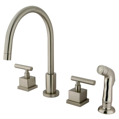 Claremont Double Handle Widespread Kitchen Faucet with Plastic Sprayer Finish: Satin Nickel