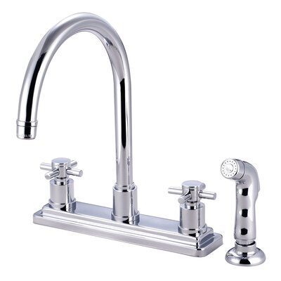 Concord Double Handle Kitchen Faucet with Side Spray Finish: Polished Chrome