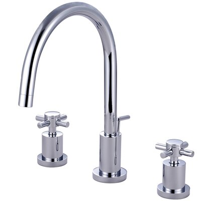 Concord Double Handle Single Hole Widespread Bathroom Faucet with Brass Pop-Up Finish: Polished Chrome