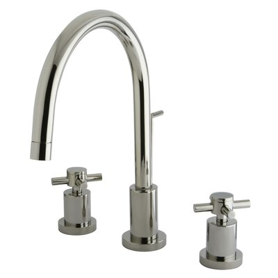 Concord Double Handle Single Hole Widespread Bathroom Faucet with Brass Pop-Up Finish: Satin Nickel