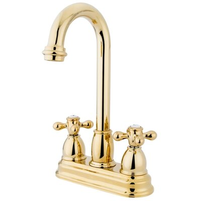Porcelain Cross Double Handle Kitchen Faucet Finish: Polished Brass