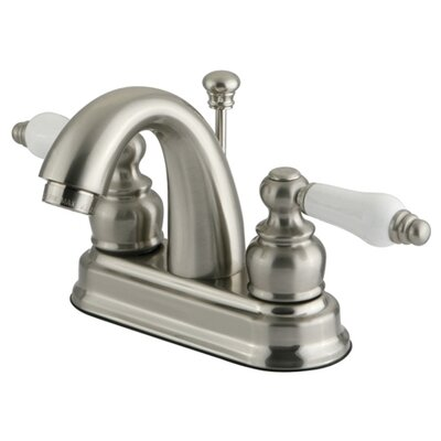 Centerset Bathroom Faucet with Double Porcelain Lever Handles Finish: Satin Nickel