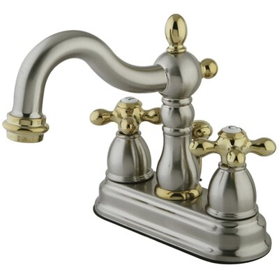 Heritage Centerset Bathroom Faucet with Double Cross Handles Finish: Satin Nickel/Polished Brass