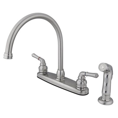 Magellan Two Handle Centerset Kitchen Faucet with Modern Lever Handles and Side Spray Finish: Satin Nickel